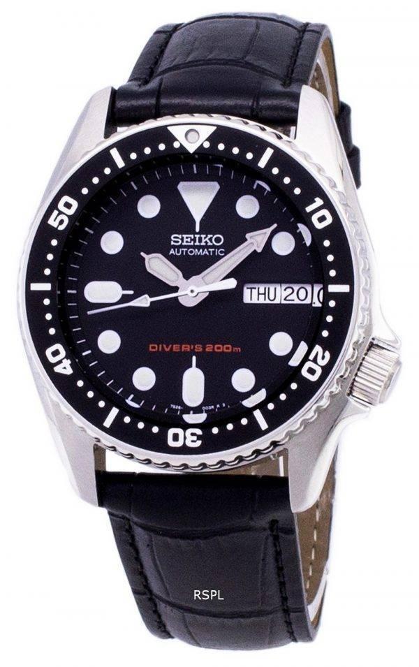 Seiko automatique SKX013K1-MS1 Diver 200M cuir noir bracelet montre homme