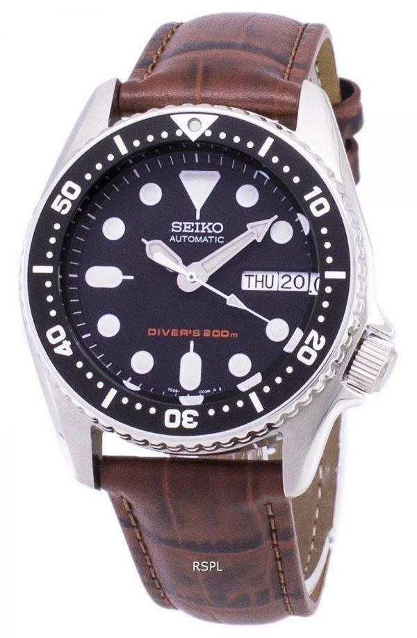Seiko automatique SKX013K1-MS2 Diver 200M cuir marron bracelet montre homme