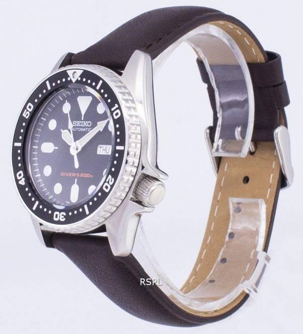 Montre 200M en cuir marron foncé sangle masculine Seiko automatique SKX013K1-MS6 Diver