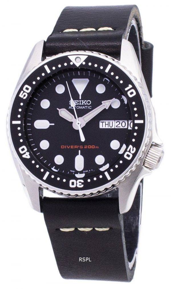 Seiko automatique SKX013K1-MS8 Diver 200M cuir noir bracelet montre homme