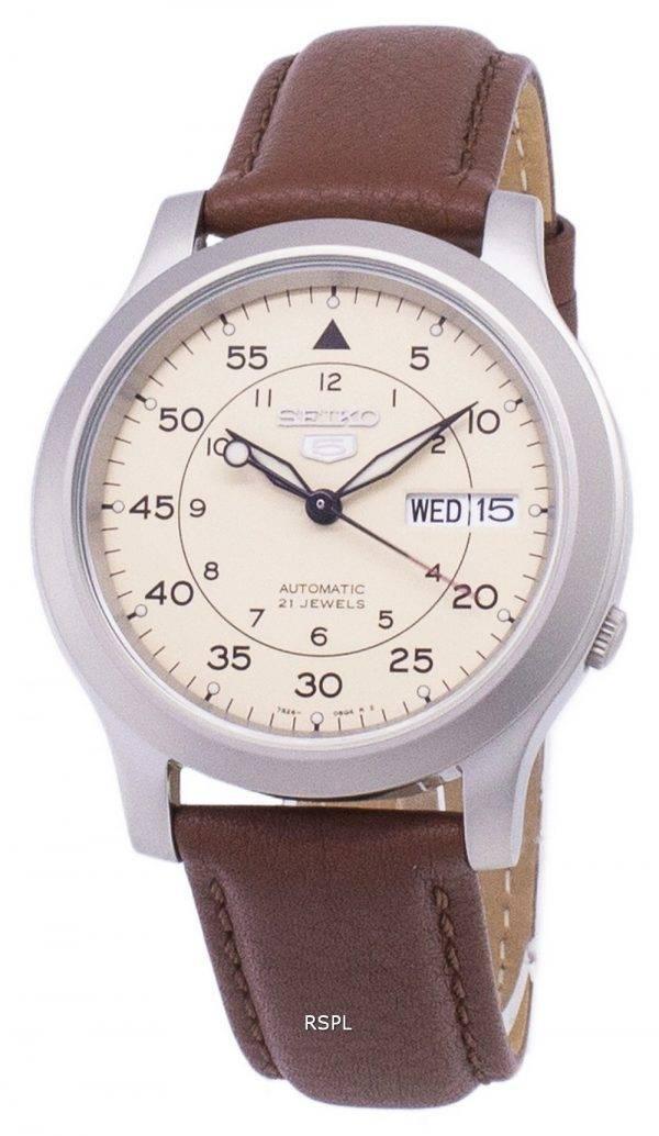 Seiko 5 SNK803K2 militaire-SS5 automatique cuir marron bracelet montre homme