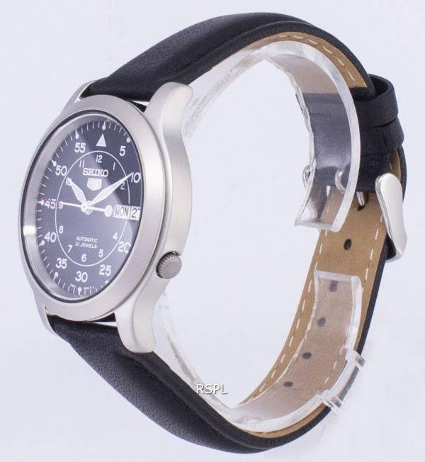 Seiko 5 militaire SNK807K2-SS3 automatique cuir noir bracelet montre homme