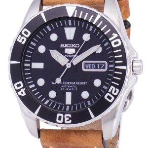 Seiko 5 Sports SNZF17J1-LS17 automatique Japon faite en cuir marron bracelet montre homme