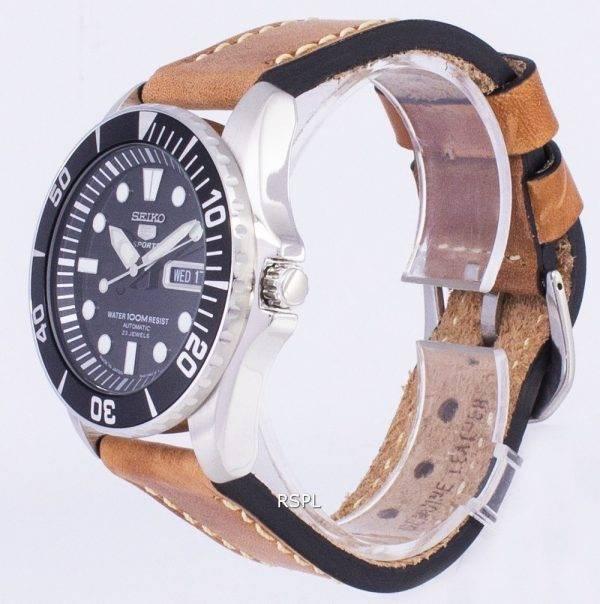 Seiko 5 Sports SNZF17J1-LS17 automatique Japon faite en cuir marron bracelet montre homme