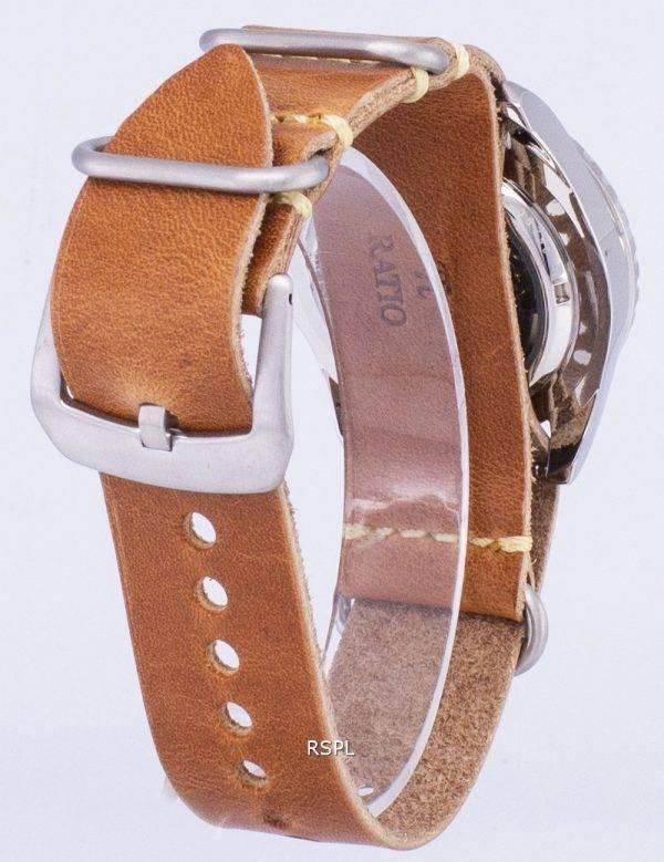 Seiko 5 Sports SNZF17J1-LS18 automatique au Japon fait en cuir marron bracelet montre homme