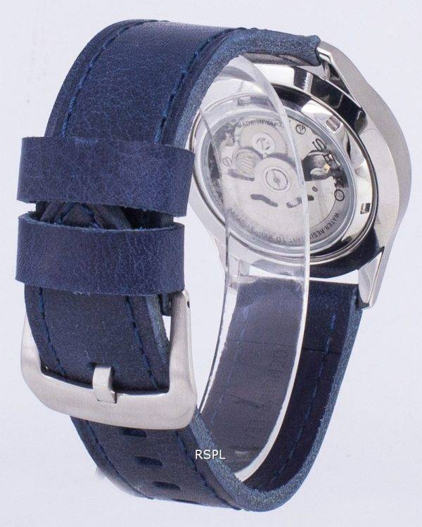 Seiko 5 Sports SNZG07J1-LS13 militaire Japon fait hommes bracelet en cuir bleu foncé montre