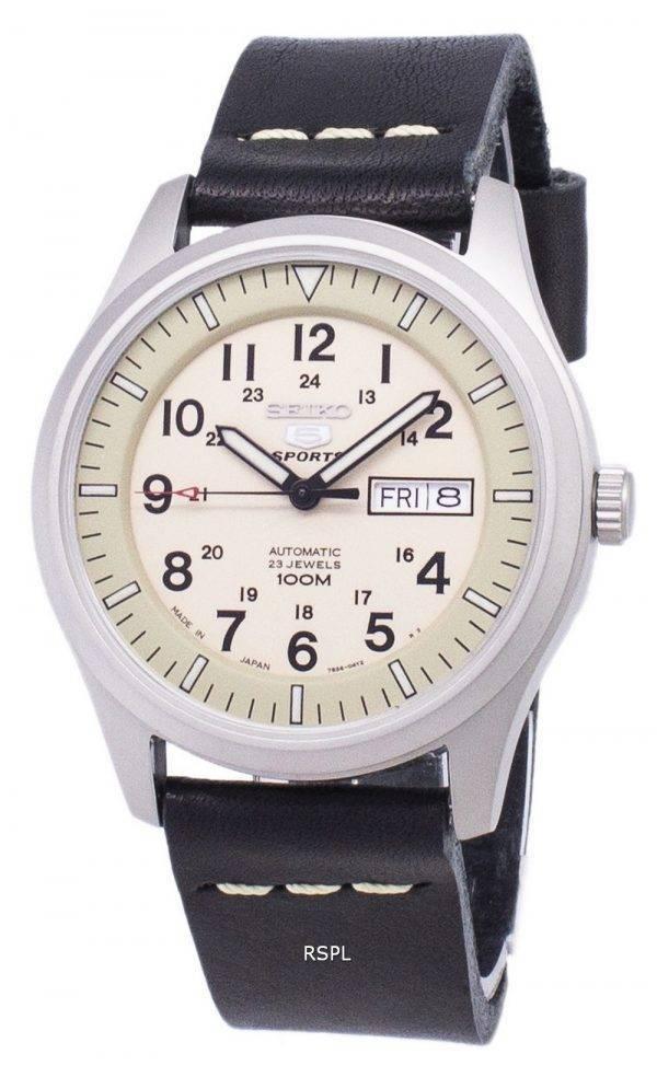 Seiko 5 Sports SNZG07J1-LS13 militaire Japon faite en cuir noir bracelet montre homme
