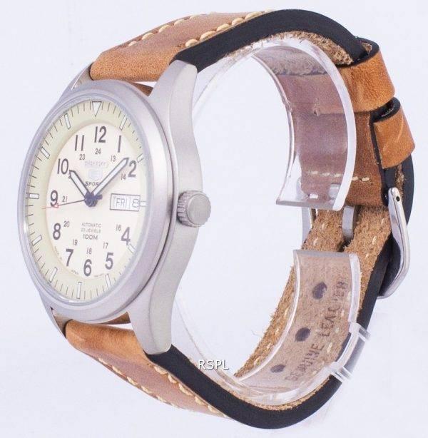 Seiko 5 Sports SNZG07J1-LS17 militaire Japon faite en cuir marron bracelet montre homme