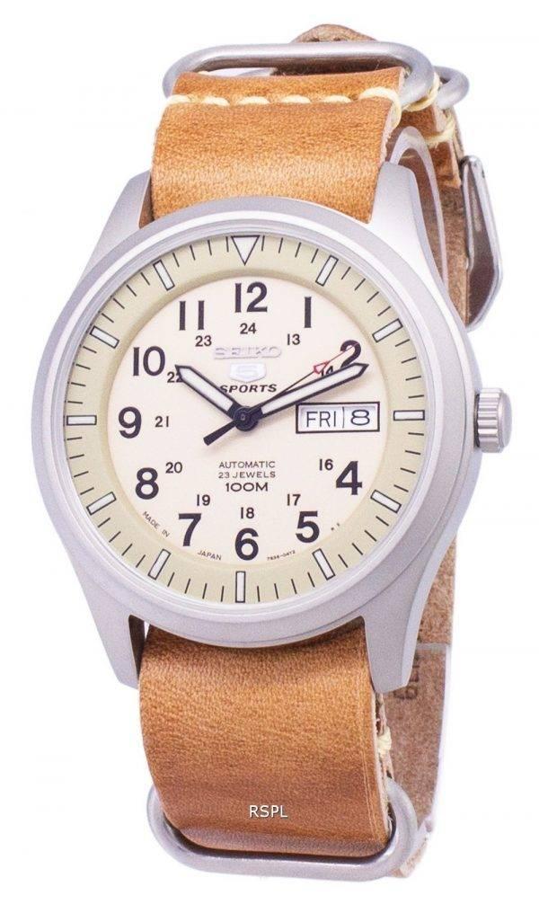 Seiko 5 Sports SNZG07J1-LS18 militaire Japon faite en cuir marron bracelet montre homme