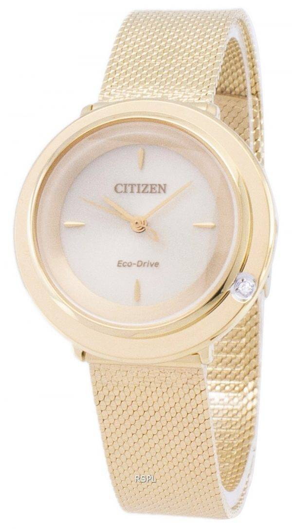 L Citizen Eco-Drive EM0642 - 87P analogiques diamant Accents Women Watch