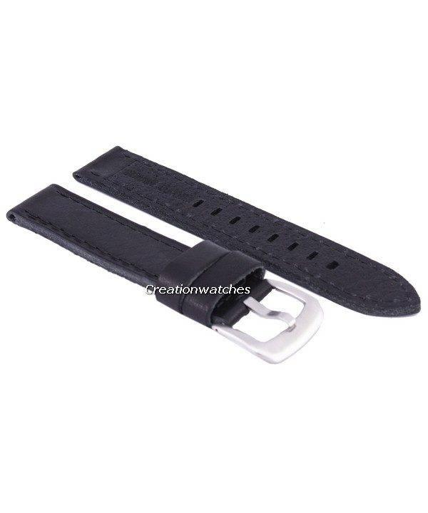 Bracelet de cuir de marque Ratio noir 20mm