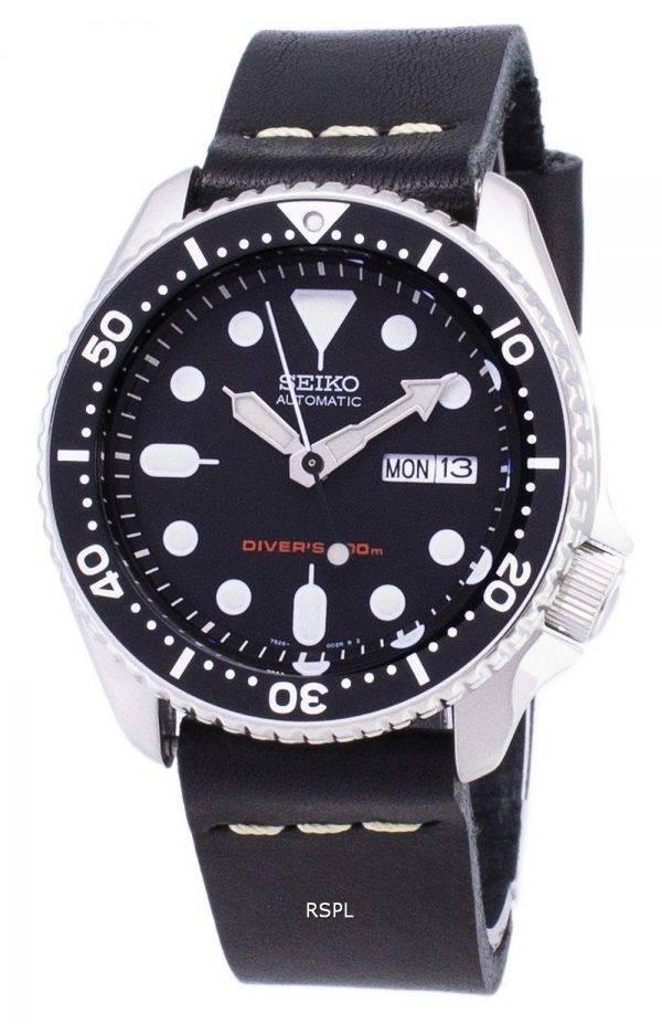 Montre 200M cuir noir bracelet masculin automatique Seiko SKX007K1-LS14 Diver