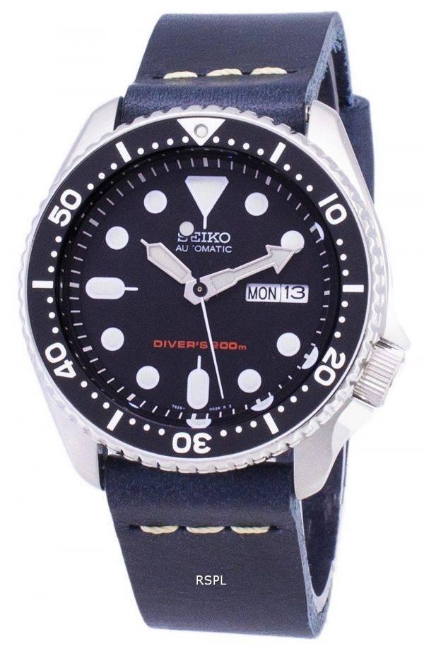 Montre automatique Seiko SKX007K1-LS15 200M en cuir bleu foncé bracelet homme
