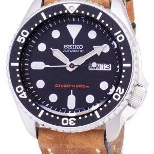 Montre 200M cuir marron bracelet masculin automatique Seiko SKX007K1-LS17 Diver