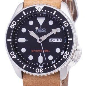 Montre 200M cuir marron bracelet masculin automatique Seiko SKX007K1-LS18 Diver