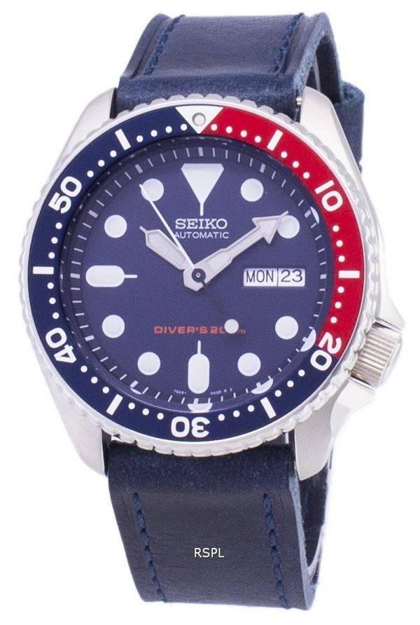 Montre 200M en cuir bleu foncé sangle masculine automatique Seiko SKX009K1-LS13 Diver