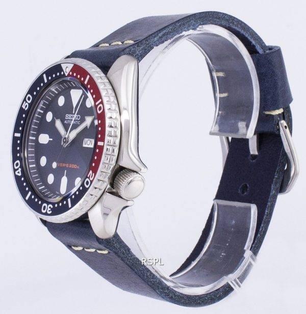 Montre 200M en cuir bleu foncé sangle masculine automatique Seiko SKX009K1-LS15 Diver