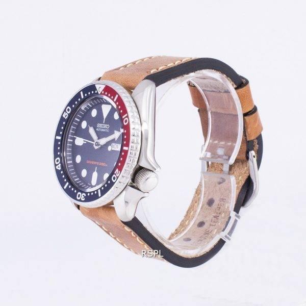 Montre 200M cuir marron bracelet masculin automatique Seiko SKX009K1-LS17 Diver