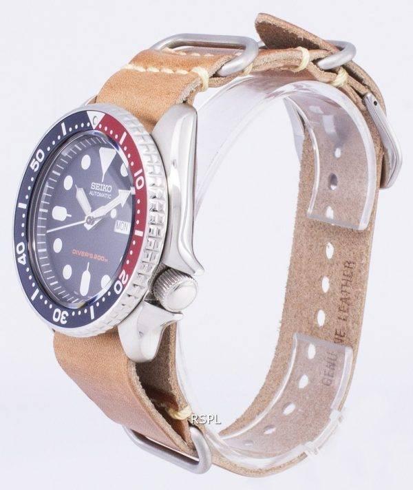 Montre 200M cuir marron bracelet masculin automatique Seiko SKX009K1-LS18 Diver