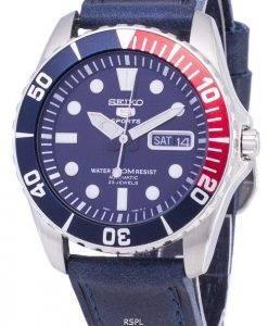 Seiko 5 Sports SNZF15K1-LS13 en cuir bleu foncé automatique bracelet montre homme
