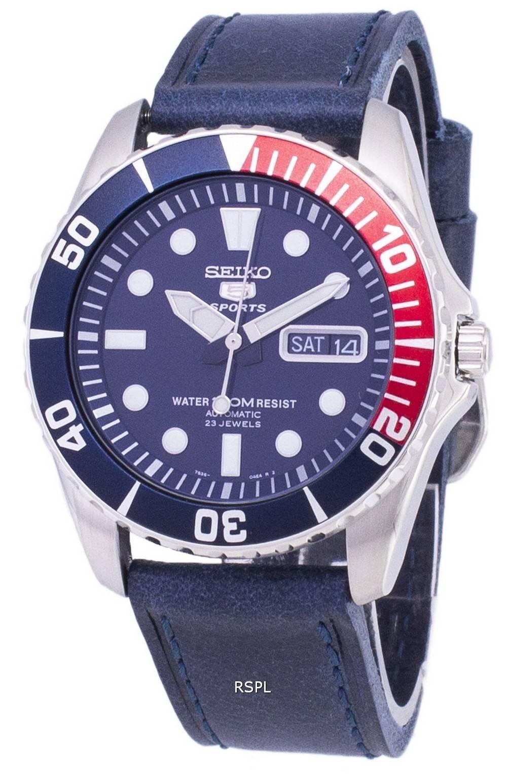 e8393c0b30037 Seiko 5 Sports SNZF15K1-LS13 en cuir bleu foncé automatique bracelet montre  homme
