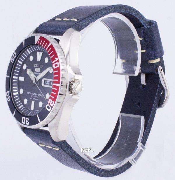 Seiko 5 Sports SNZF15K1-LS15 en cuir bleu foncé automatique bracelet montre homme
