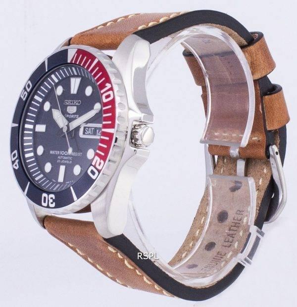 Seiko 5 Sports SNZF15K1-LS17 automatique cuir marron bracelet montre homme