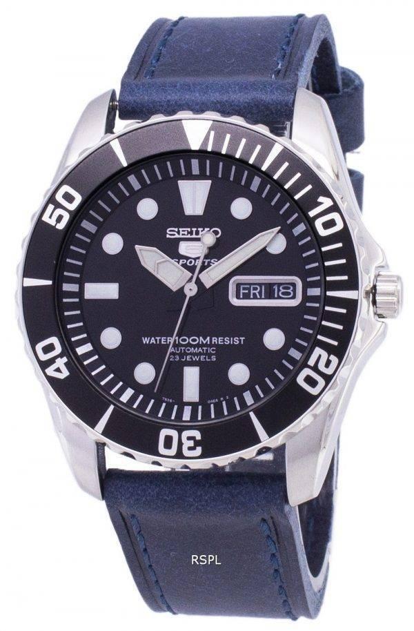 Seiko 5 Sports SNZF17K1-LS13 en cuir bleu foncé automatique bracelet montre homme