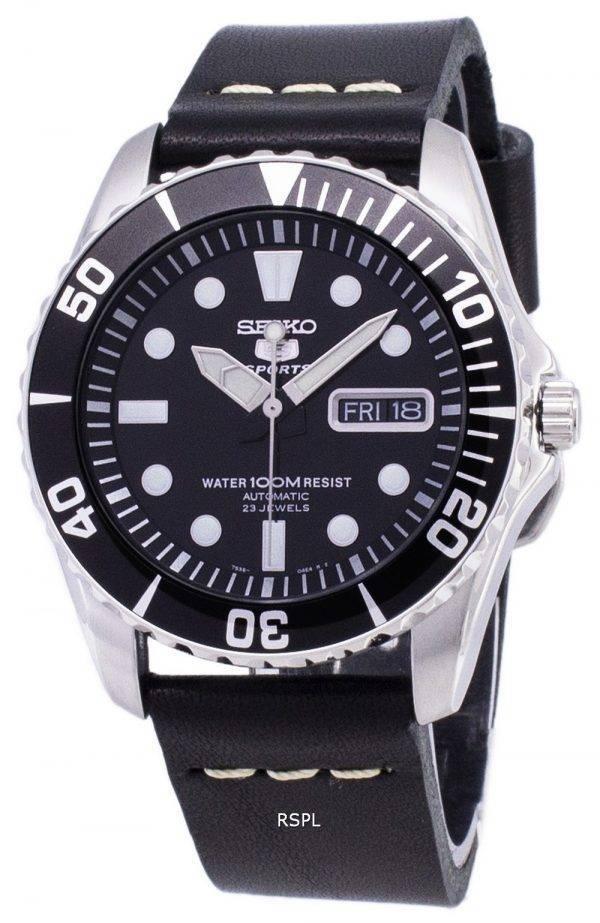 Seiko 5 Sports SNZF17K1-LS14 automatique cuir noir bracelet montre homme