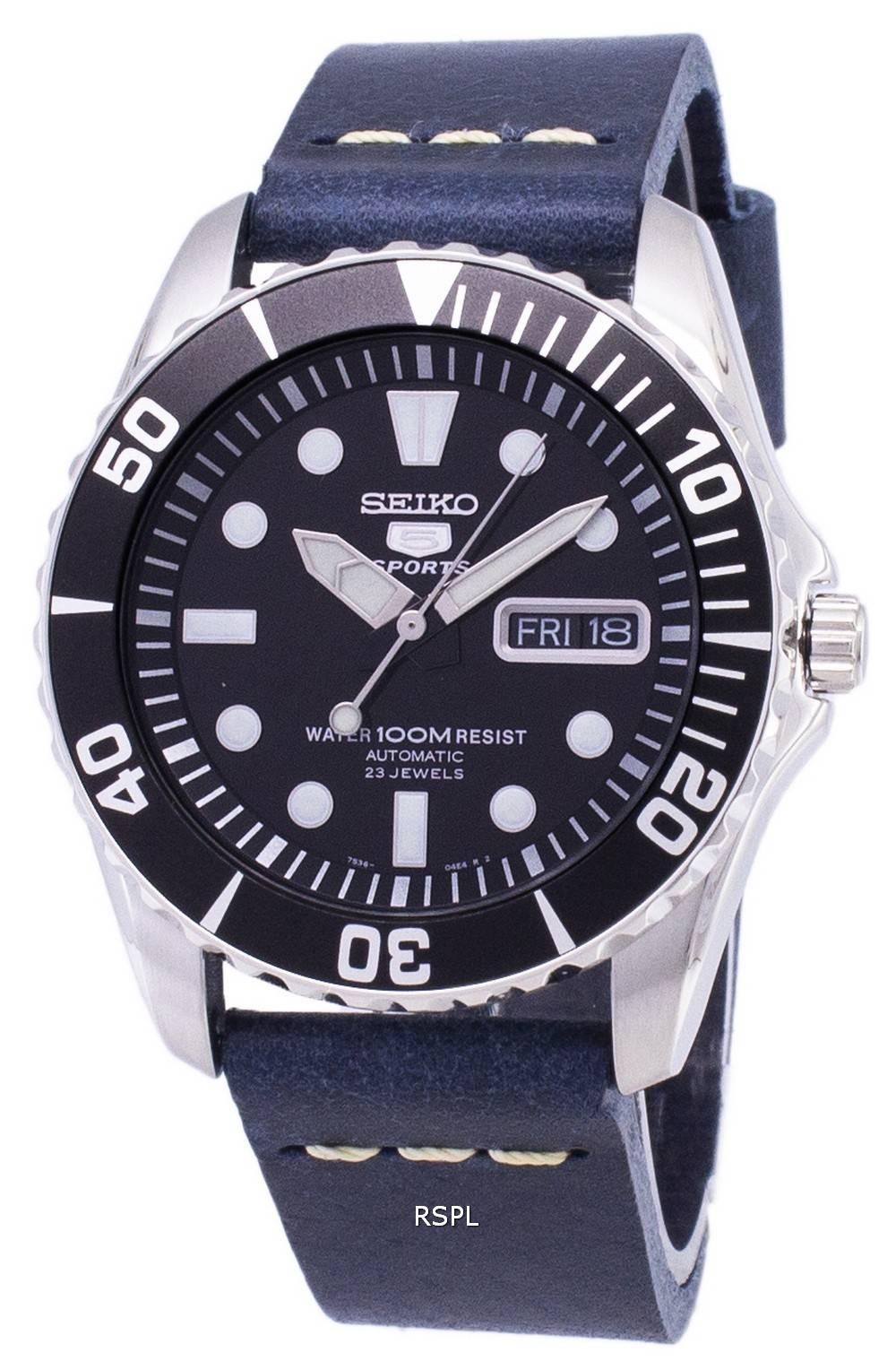 1833f5138701a Seiko 5 Sports SNZF17K1-LS15 en cuir bleu foncé automatique bracelet montre  homme
