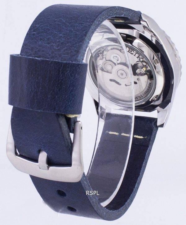 Seiko 5 Sports SNZF17K1-LS15 en cuir bleu foncé automatique bracelet montre homme