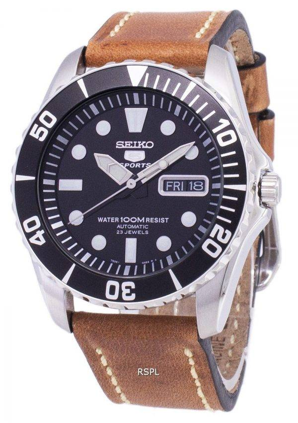 Seiko 5 Sports SNZF17K1-LS17 automatique cuir marron bracelet montre homme