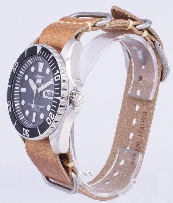 Seiko 5 Sports SNZF17K1-LS18 automatique cuir marron bracelet montre homme