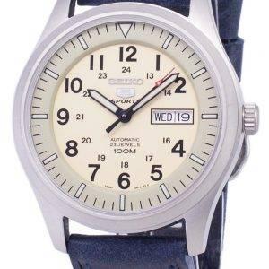 Seiko 5 Sports SNZG07K1-LS13 en cuir bleu foncé automatique bracelet montre homme
