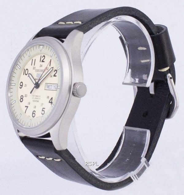 Seiko 5 Sports SNZG07K1-LS14 en cuir noir automatique bracelet montre homme