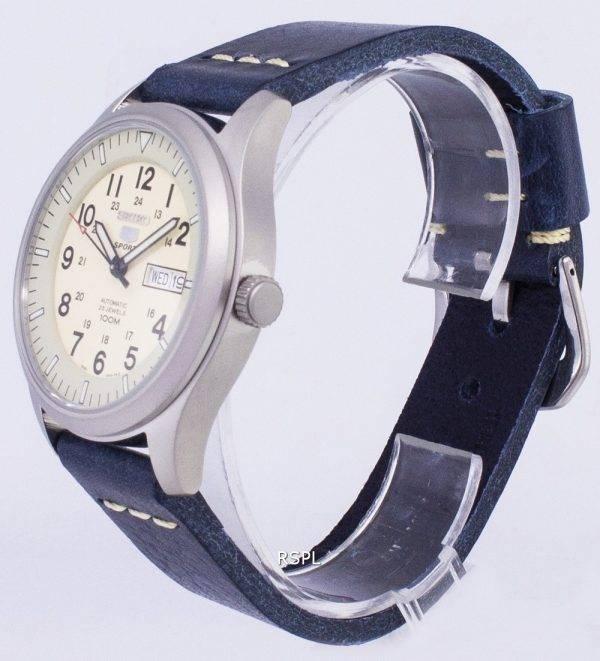 Seiko 5 Sports SNZG07K1-LS15 en cuir bleu foncé automatique bracelet montre homme