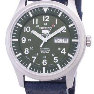 Seiko 5 Sports SNZG09J1-LS13 Japon fait en cuir bleu foncé bracelet montre homme