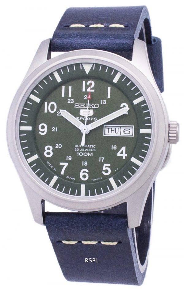 Seiko 5 Sports SNZG09J1-LS15 Japon fait en cuir bleu foncé bracelet montre homme