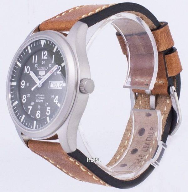 Seiko 5 Sports SNZG09J1-LS17 Japon fait en cuir marron bracelet montre homme