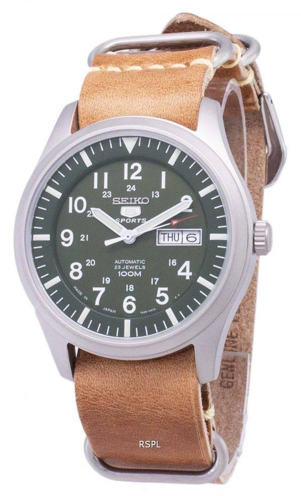 Seiko 5 Sports SNZG09J1-LS18 Japon fait en cuir marron bracelet montre homme