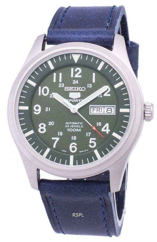 Seiko 5 Sports SNZG09K1-LS13 en cuir bleu foncé automatique bracelet montre homme
