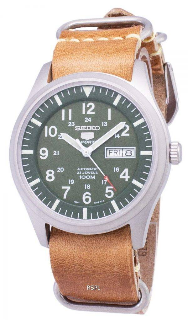 Seiko 5 Sports SNZG09K1-LS18 automatique cuir marron bracelet montre homme