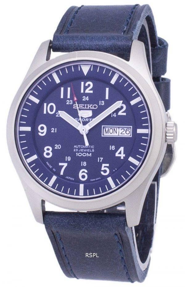 Seiko 5 Sports SNZG11J1-LS13 Japon fait en cuir bleu foncé bracelet montre homme