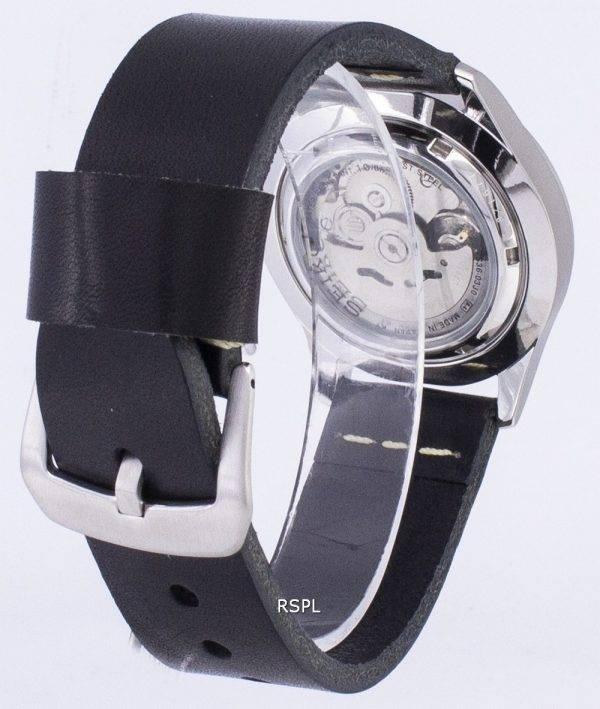 Seiko 5 Sports SNZG11J1-LS14 en cuir noir automatique bracelet montre homme