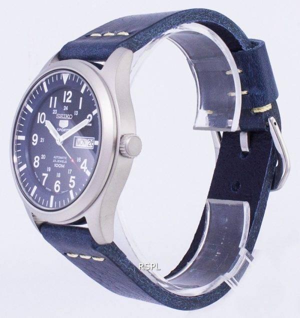 Seiko 5 Sports SNZG11J1-LS15 en cuir bleu foncé automatique bracelet montre homme