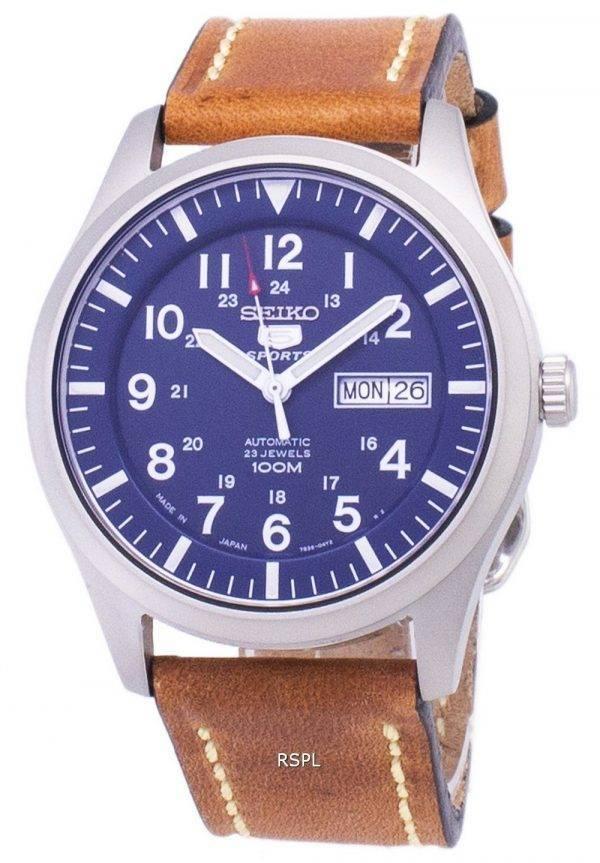 Seiko 5 Sports SNZG11J1-LS17 automatique cuir marron bracelet montre homme