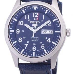 Seiko 5 Sports SNZG11K1-LS13 en cuir bleu foncé automatique bracelet montre homme