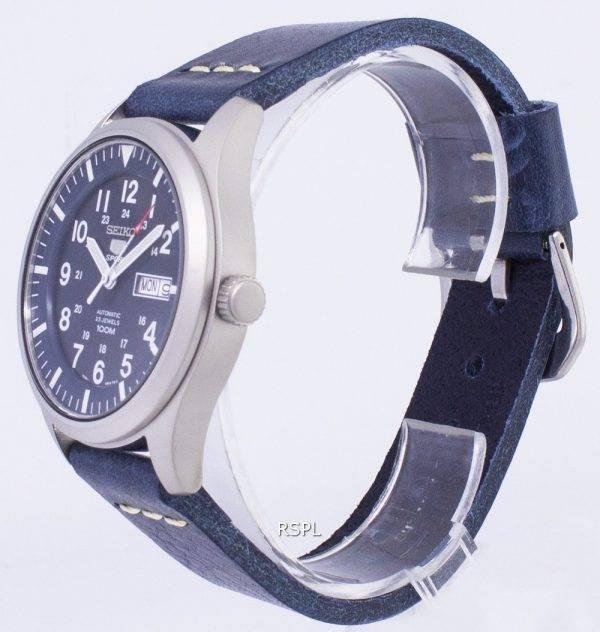 Seiko 5 Sports SNZG11K1-LS15 en cuir bleu foncé automatique bracelet montre homme