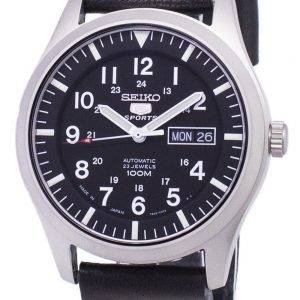 Seiko 5 Sports SNZG15J1-LS14 Japon fait en cuir noir bracelet montre homme