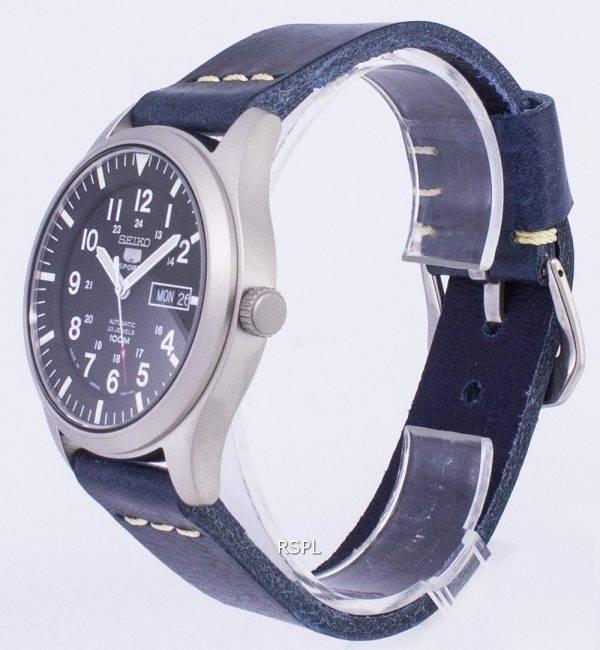 Seiko 5 Sports SNZG15J1-LS15 automatique Japon fait hommes bracelet en cuir bleu foncé montre